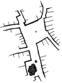 Půdorysné schéma nám. TGM. Povšimněte si kapličky v ulici Kratochvílova uzavírající boční náměstíčko. Kresba: autor