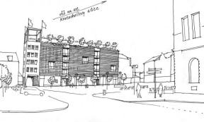 "Ideový návrh rekonstrukce ""Emosu"" na radnici s věží. Kresba: Bc. Milan Šuška"