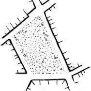 Půdorysné schéma. Prostor by mohl být jak náměstím (i když poněkud větším), tak docela příjemným parkem v centru města. Kresba: autor