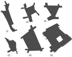 orovnejte velikosti náměstí: 01 - Žerotínovo, 02 - TGM, 03 - Horní, 04 - Svobody, 05 - Rashe, 06 - Přerovského povstání. Schéma: autor